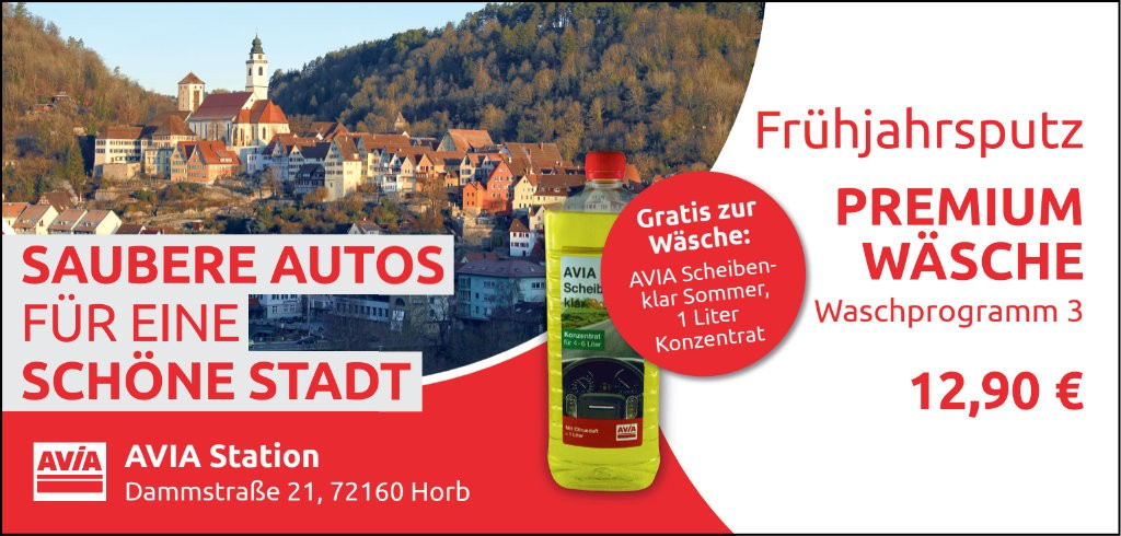 """Huzel IT service & design - Werbeanzeige Printmedien der AVIA-Horb """"Saubere Autos für eine schöne Stadt"""""""
